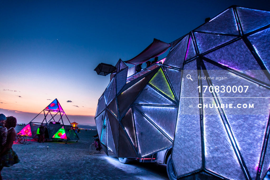 170830007 |  Perspective view of the BAAAHS art car on the playa at the break of dawn Wednesday, after Tuesda... | Team Chuubie