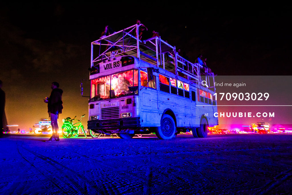 170903029 |  WOOL BUS, is the BAAAHS camp's art bus – indirectly illuminated here by ambient purple and pink ... | Team Chuubie