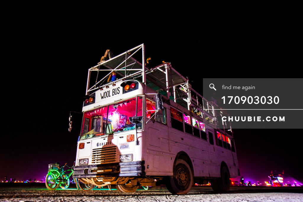 170903030 |  Perspective shot of the WOOL BUS (BAAAHS camp's art bus) on the playa during Temple Burn (Sunday... | Team Chuubie