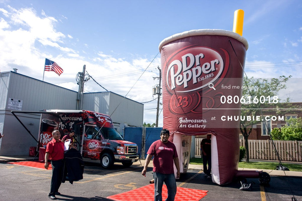 80613018 |  Dr. Pepper ambassador team in front of the pop-up inflatable art gallery.  —Dr. Pepper Sabrosura... | Team Chuubie