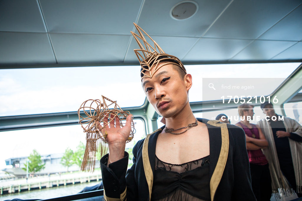 170521016 |  Hostess Madame Chuubie models a spiked headpiece by Kova by Sascha —ebb+flow boat party May 21, ... | Team Chuubie