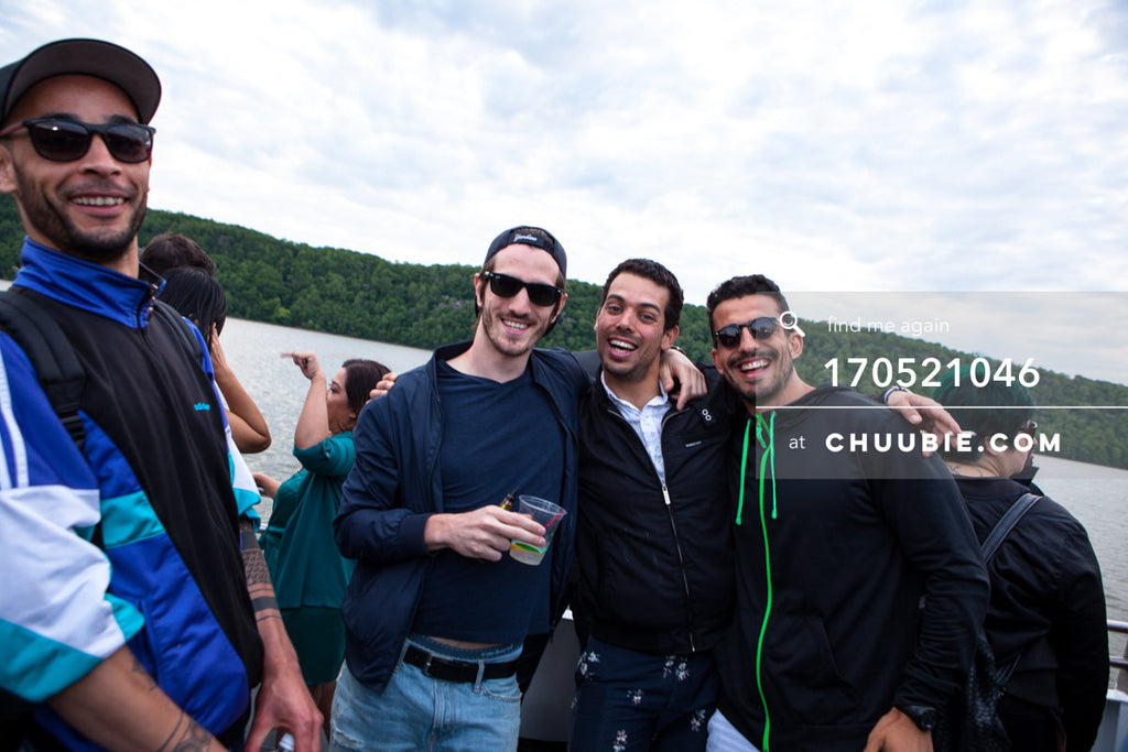 170521046 |  Group of guys smile on the Hudson River — ebb+flow boat party May 21, 2017 | Team Chuubie