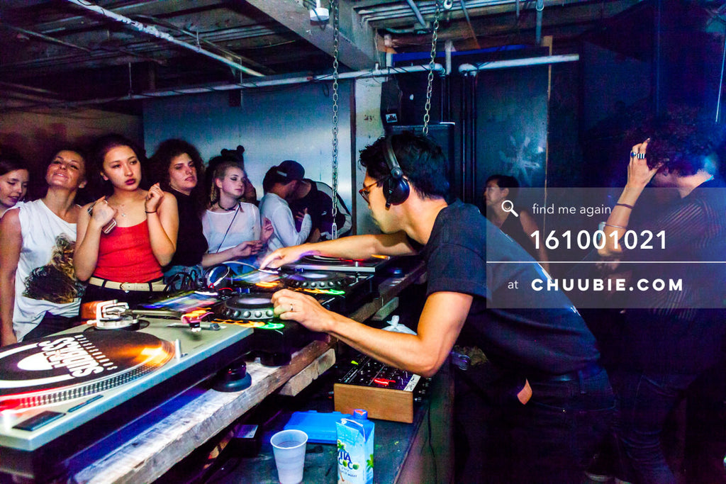 161001021 |  Side angle action shot of Hunee at the decks, high energy dancers ready to turn it out. Sublimat... | Team Chuubie