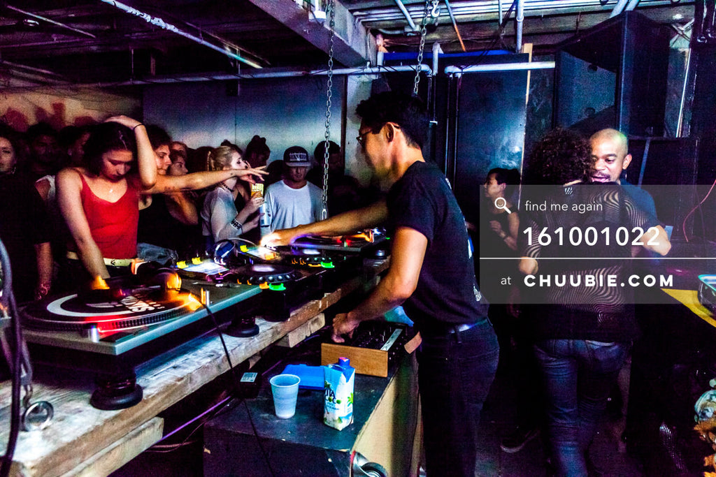 161001022 |  Side angle action shot of Hunee at the decks, high energy dancers ready to turn it out. Sublimat... | Team Chuubie