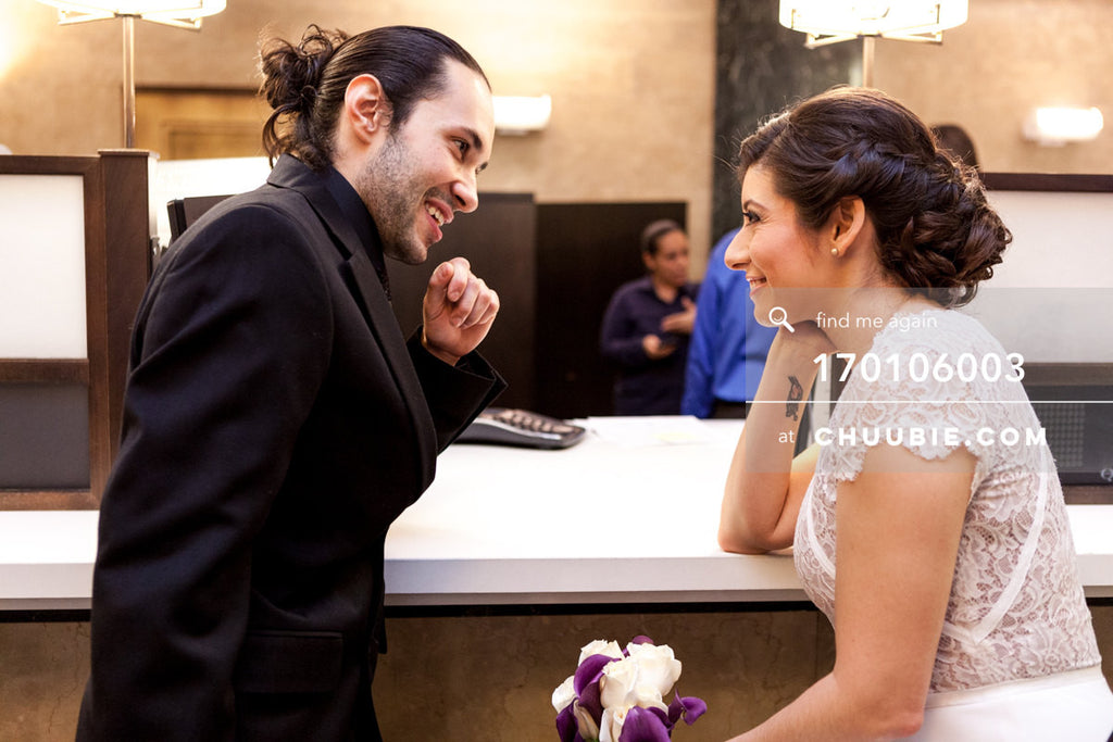 170106003 | Bride & Groom smiling at registration counter —Jenn & Andres' NYC City Hall Wedding. City... | Team Chuubie