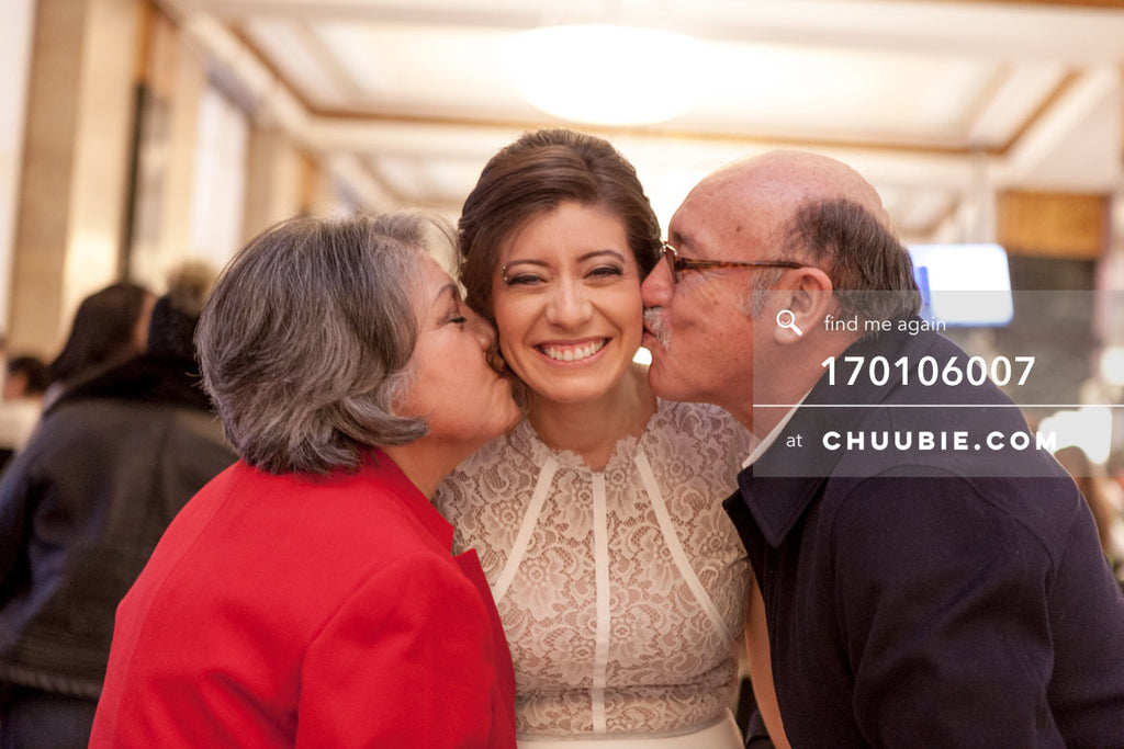 170106007 | Bride gets kisses on the cheek from parents —Jenn & Andres' NYC City Hall Wedding. City Clerk... | Team Chuubie