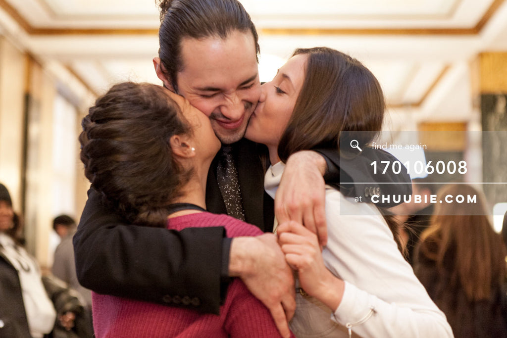 170106008 | Groom gets kisses on the cheek from little sisters —Jenn & Andres' NYC City Hall Wedding. Cit... | Team Chuubie