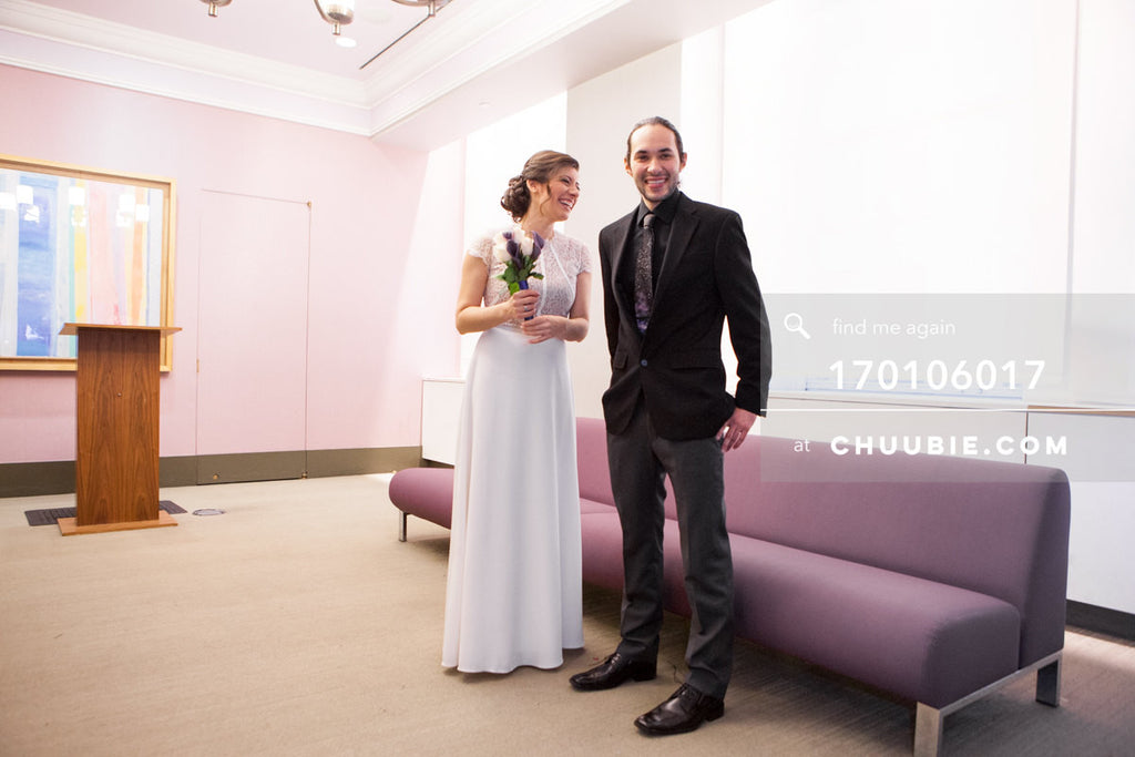 170106017 | Bride & groom standing in NYC City Hall Wedding Chapel waiting for marriage officiant & c... | Team Chuubie