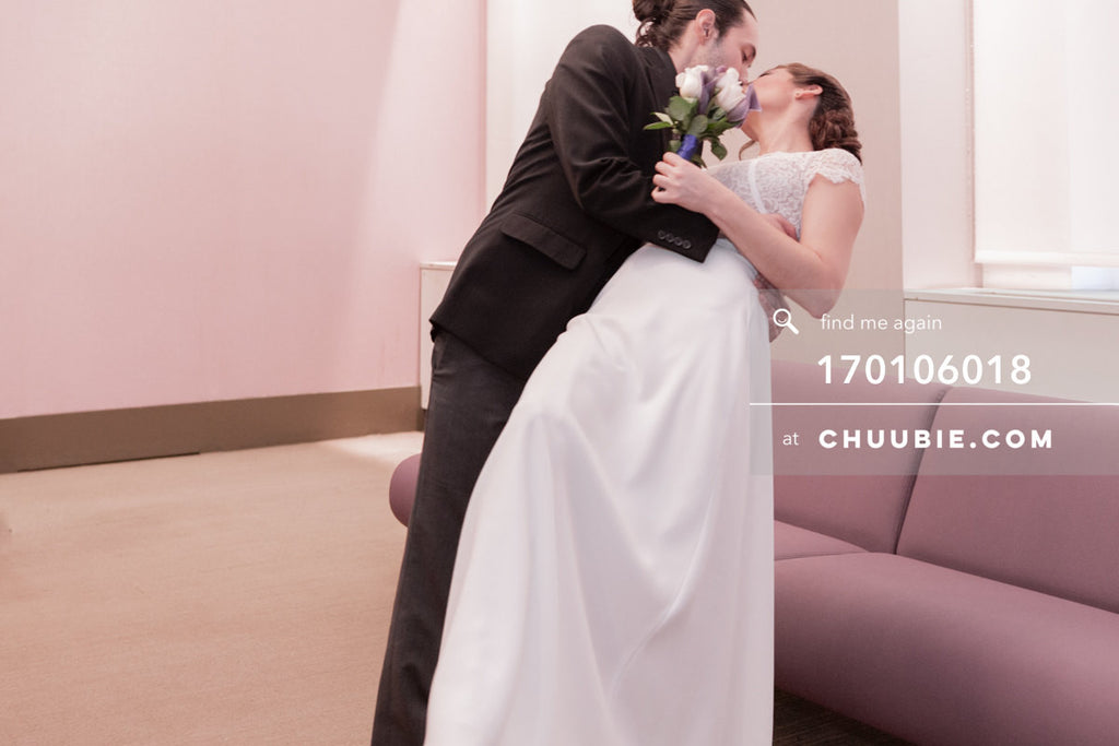 170106018 | Groom dips Bride back for a kiss in the NYC City Hall Wedding Chapel —Jenn & Andres' NYC City... | Team Chuubie