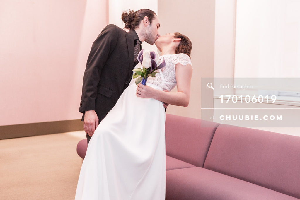 170106019 | Groom dips Bride back for a kiss in the NYC City Hall Wedding Chapel —Jenn & Andres' NYC City... | Team Chuubie