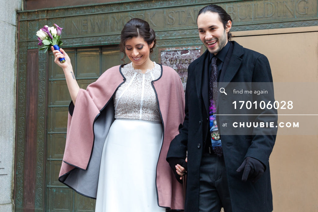 170106028 | Bride & Groom after wedding ceremony, walking down steps of NYC City Clerk's Office —Jenn &am... | Team Chuubie