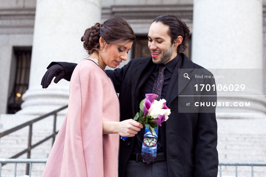 170106029 | Bride & Groom embrace outside NYC City Hall Wedding —Jenn & Andres' NYC City Hall Wedding... | Team Chuubie
