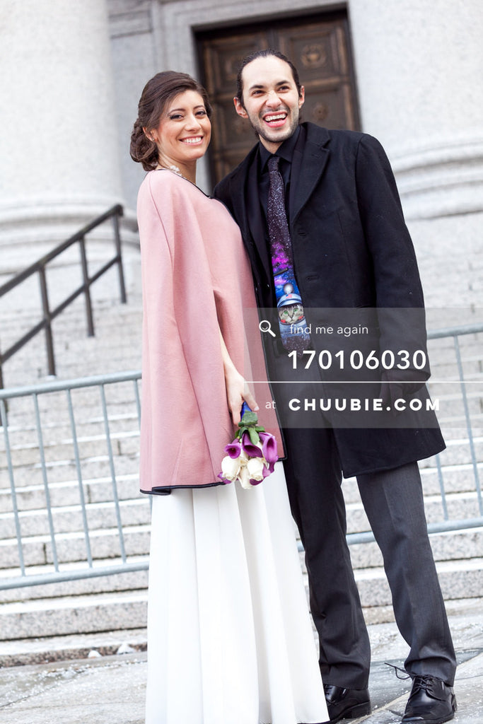 170106030 | Bride & Groom smile in front of City Hall steps —Jenn & Andres' NYC City Hall Wedding. Ci... | Team Chuubie