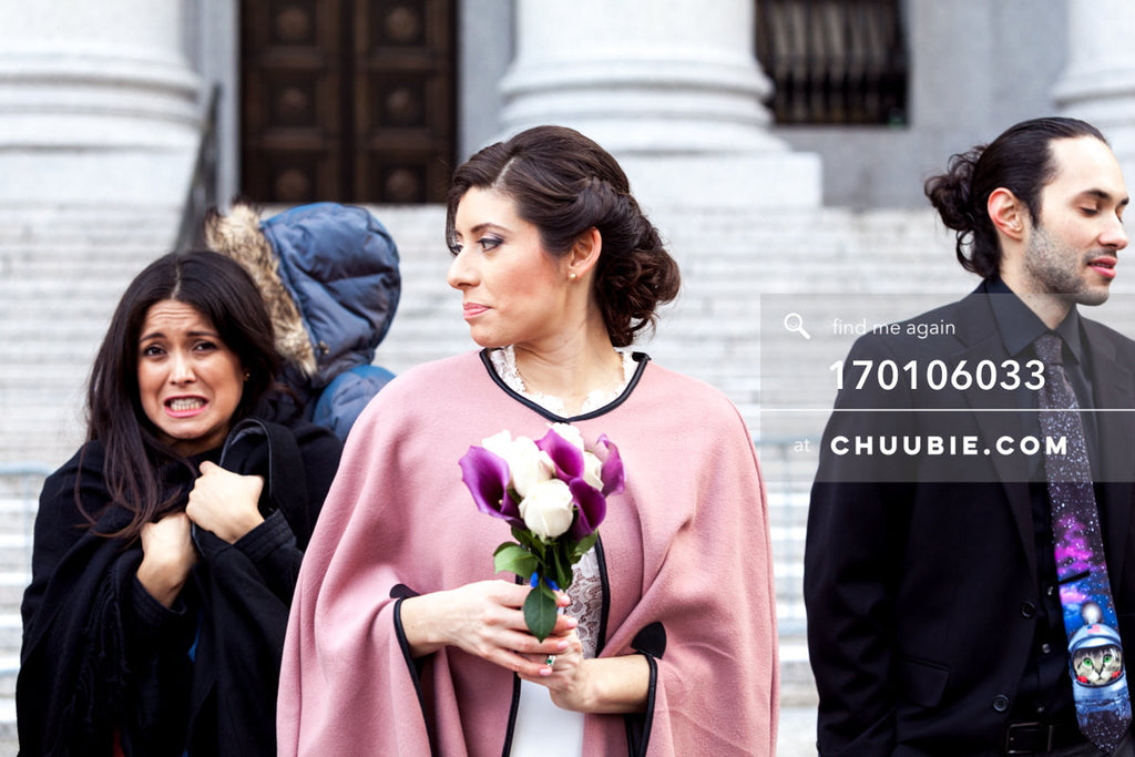 170106033 | Bride and family outside winter NYC City Hall steps —Jenn & Andres' NYC City Hall Wedding. Ci... | Team Chuubie