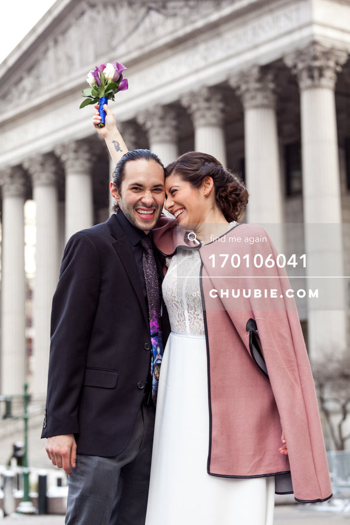 170106041 | Bride & Groom smiling with bouquet of flowers in front of NYC City Hall buildings —Jenn &... | Team Chuubie