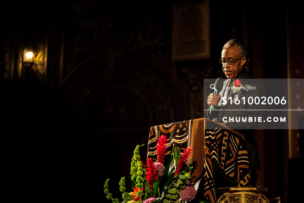 S161002006 |  Reverend Al Sharpton looking down while giving sermon, negative space to the left, subject on ri... | Team Chuubie