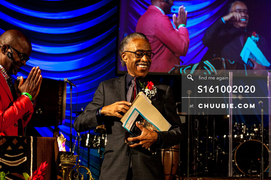 S161002020 | Reverend Al Sharpton mid-moment smiling after shaking hands with Bishop Xavier Eikerenkoetter of ... | Team Chuubie