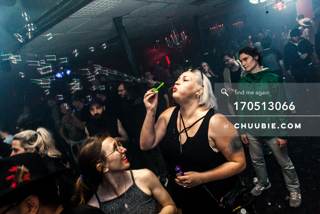 170512066 |  Becky blows bubbles on the dance floor at the end of Hessle Audio 10 at Sugar Hill Disco, Brookl... | Team Chuubie