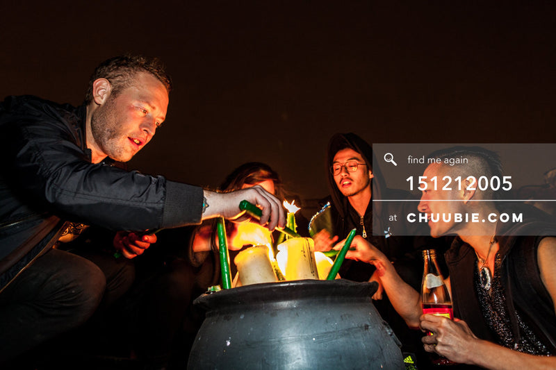 151212005 | Swervewolf, Chuubie, & others lighting candles on Brooklyn winter rooftop. — Sublimate & ... | Team Chuubie