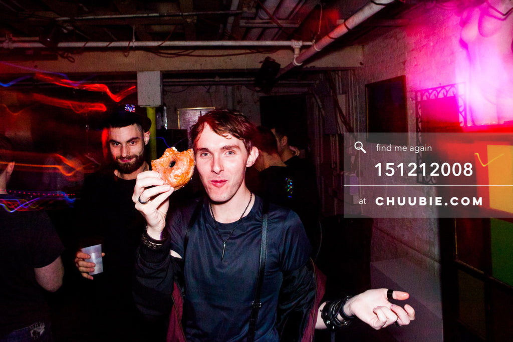 151212008 | Alex Yehlen holding up Krispy Creme Donut, with Steve Hanson. — Sublimate & Ruse Labs 2 Year ... | Team Chuubie