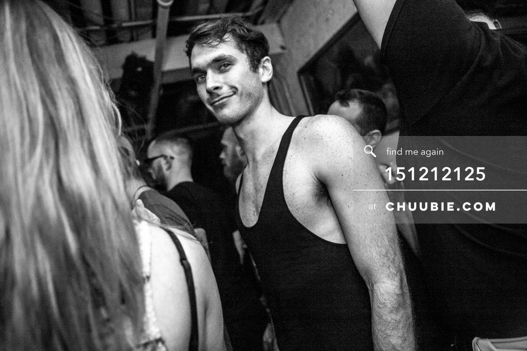 151212125 |  Smiling b&w portrait of Techno Queers Tyler in crowd at Brooklyn warehouse. — Sublimate &... | Team Chuubie
