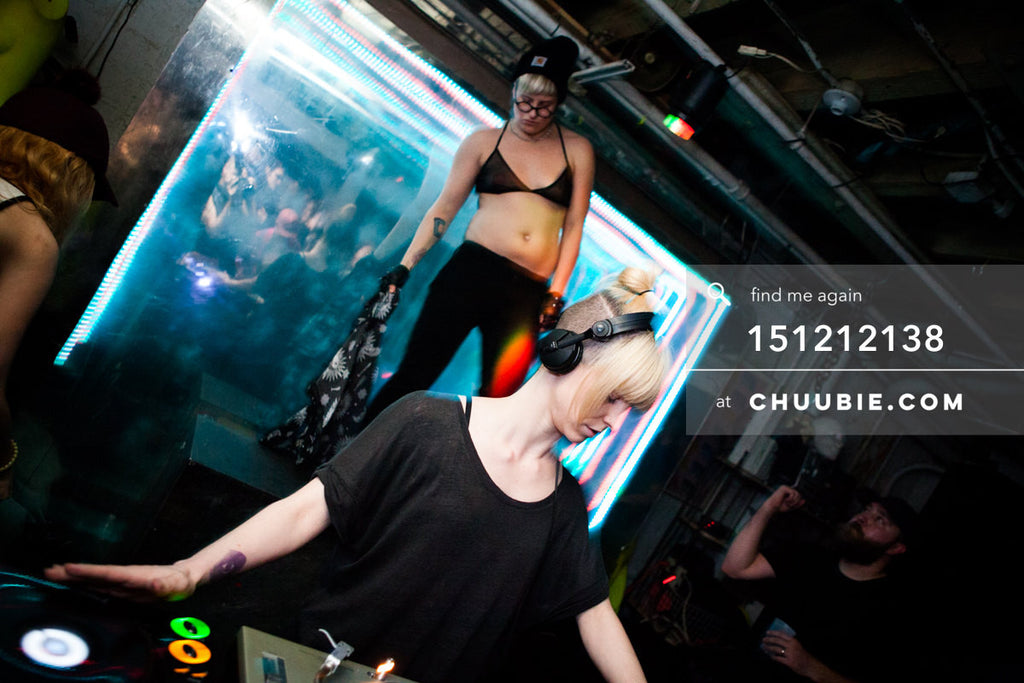 151212138 |  DJ Volvox with queer female dancers on stage at Brooklyn warehouse. — Sublimate & Ruse Labs ... | Team Chuubie