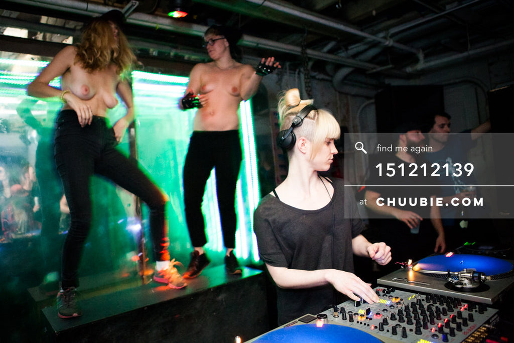 151212139 |  DJ Volvox w/ topless queer female dancers on stage at Brooklyn warehouse. — Sublimate & Ruse... | Team Chuubie