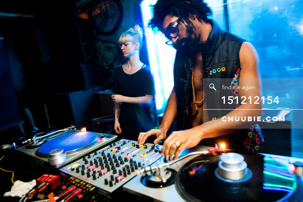 151212154 |  DJ Volvox, and Turtle Bugg at the decks; ice blue glowing light at Brooklyn warehouse rave. — Su... | Team Chuubie