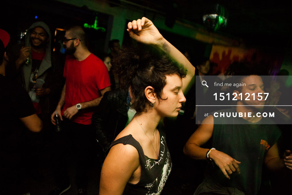 151212157 |  Woman dances with arm in air at Brooklyn Warehouse rave! — Sublimate & Ruse Labs 2 Year Anni... | Team Chuubie
