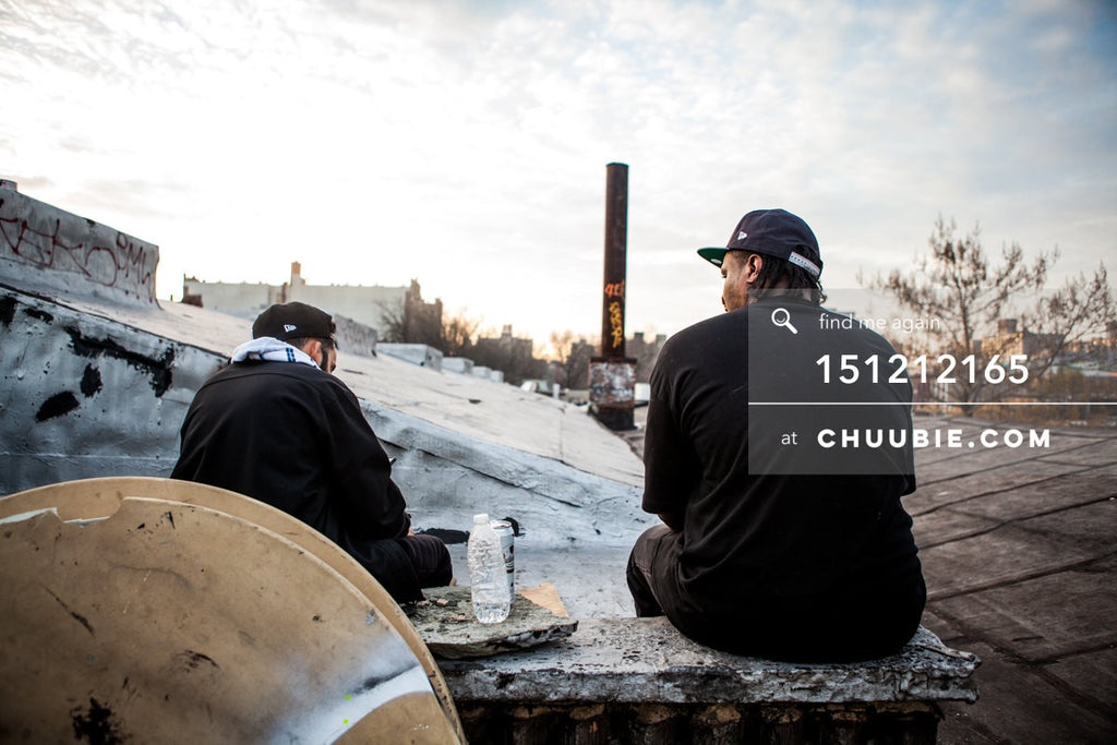 151212165 |  Atmospheric portrait of two guys on Brooklyn warehouse rooftop at sunrise. — Sublimate & Rus... | Team Chuubie