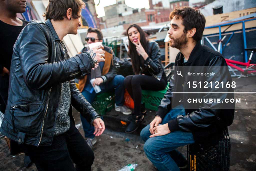 151212168 |  Group crowd moments at Brooklyn warehouse rooftop sunrise. — Sublimate & Ruse Labs 2 Year An... | Team Chuubie