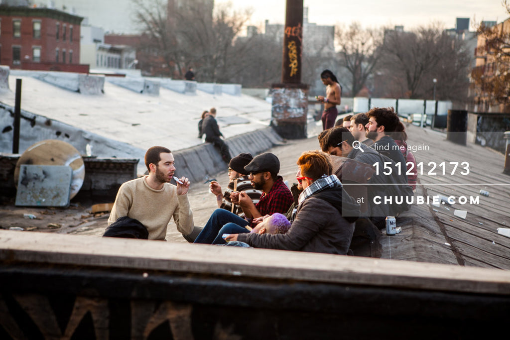 151212173 |  Candid moment of crowd on Brooklyn rooftop at sunrise. — Sublimate & Ruse Labs 2 Year Annive... | Team Chuubie