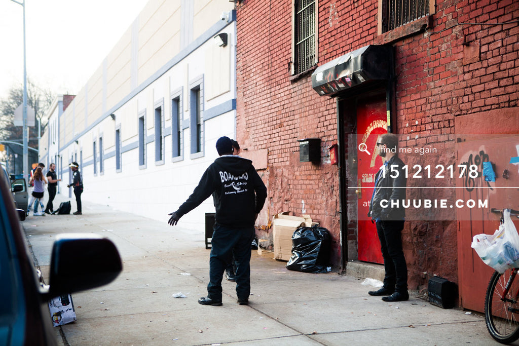 151212178 |  After the party: Brooklyn morning street scenes. Various people on street and by red door for th... | Team Chuubie