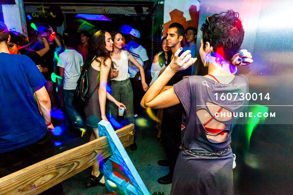 160730014 | Sloane, Anja, Nihal dancing at warehouse loft party. — Sublimate & Ruse Labs present: Mood ii... | Team Chuubie