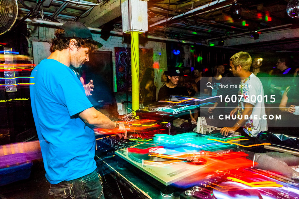 160730015 | DJ Donny Burlin behind the DJ decks with light trails. — Sublimate & Ruse Labs present: Mood ... | Team Chuubie