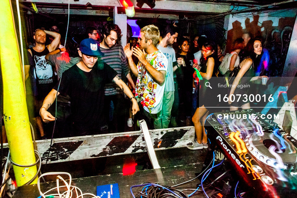 160730016 | Crowd dancing to house music with DJ Donny Burlin, underground brooklyn warehouse rave party scen... | Team Chuubie