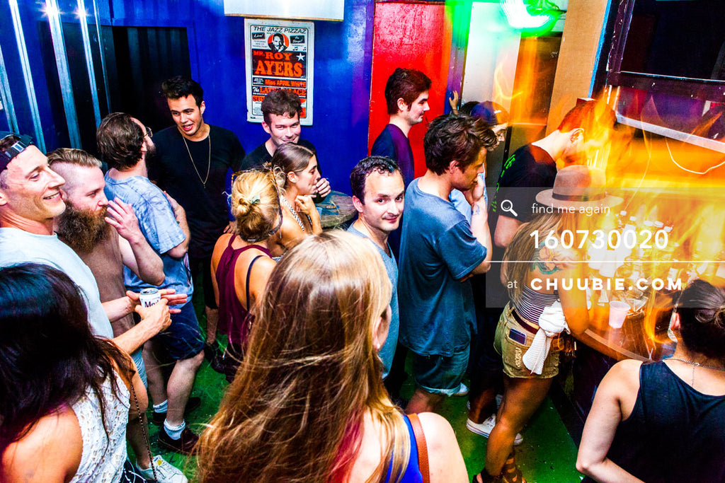 160730020 | Crowd at bar with colorful walls brooklyn warehouse; underground brooklyn warehouse rave party sc... | Team Chuubie