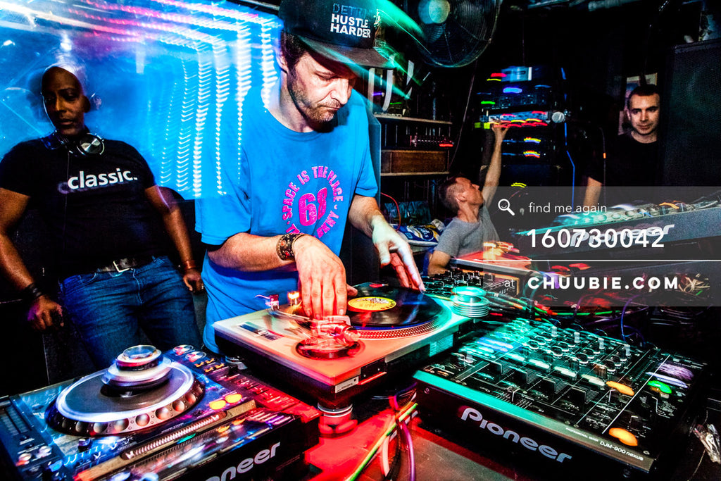 160730042 | DJ Donny Burlin at the turntables, mid-action light trails with John Ciafone (Chiapet) and Lem Sp... | Team Chuubie