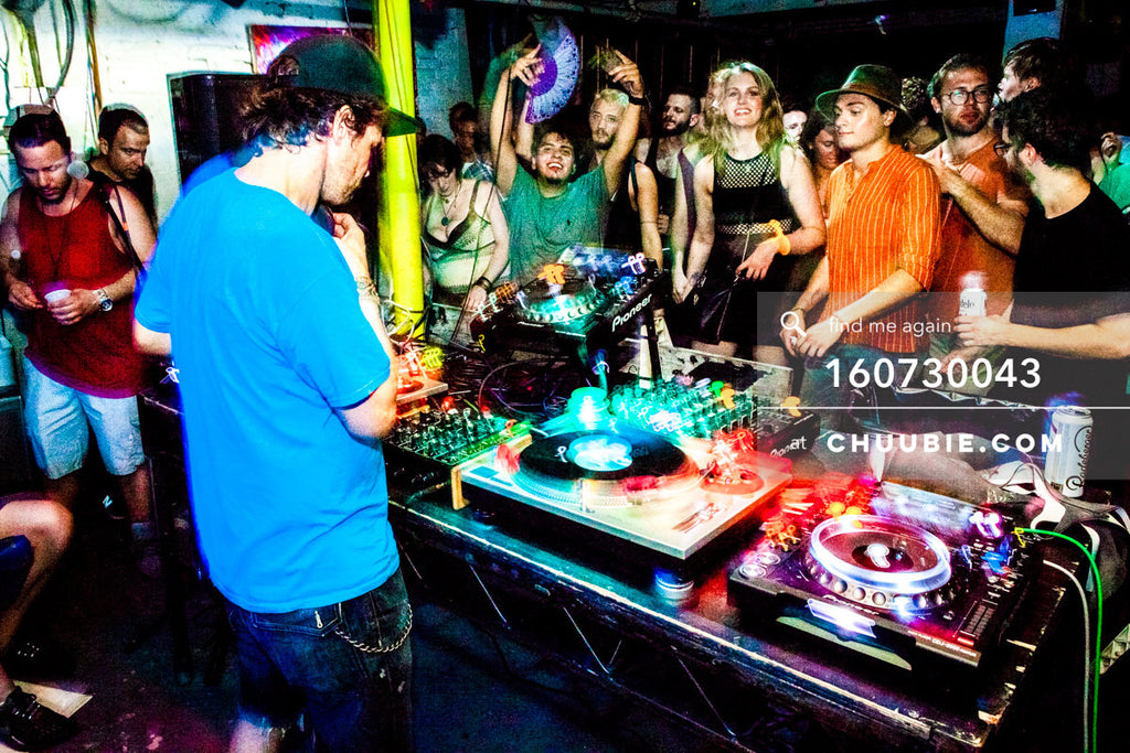 160730043 | DJ Donny Burlin w/ smiling dance floor crowd at Brooklyn warehouse rave. — Sublimate & Ruse L... | Team Chuubie