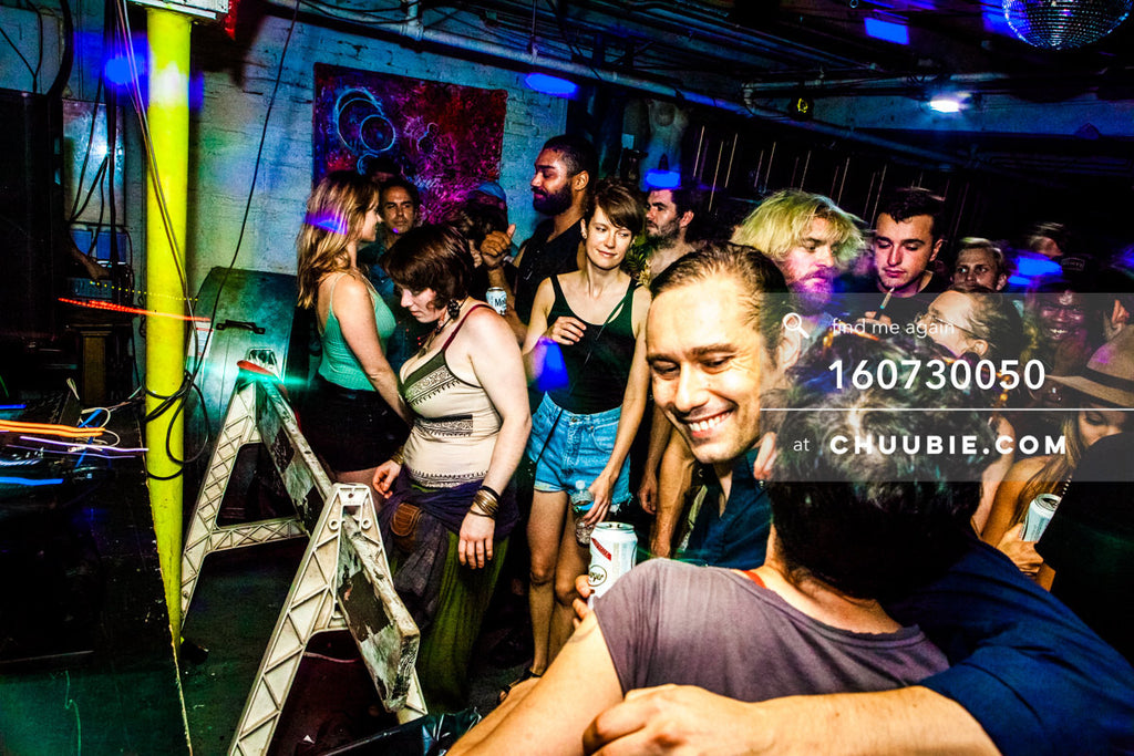 160730050 | Smiles & hugging in crowd at Brooklyn warehouse rave. — Sublimate & Ruse Labs present: Mo... | Team Chuubie