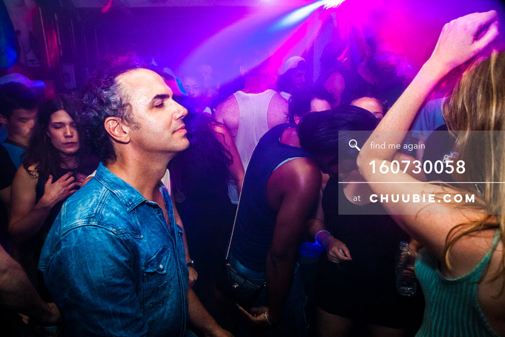 160730058 | Ian dancing eyes closed, basks in dance lights during Mood ii Swing DJ set. — Sublimate & Rus... | Team Chuubie