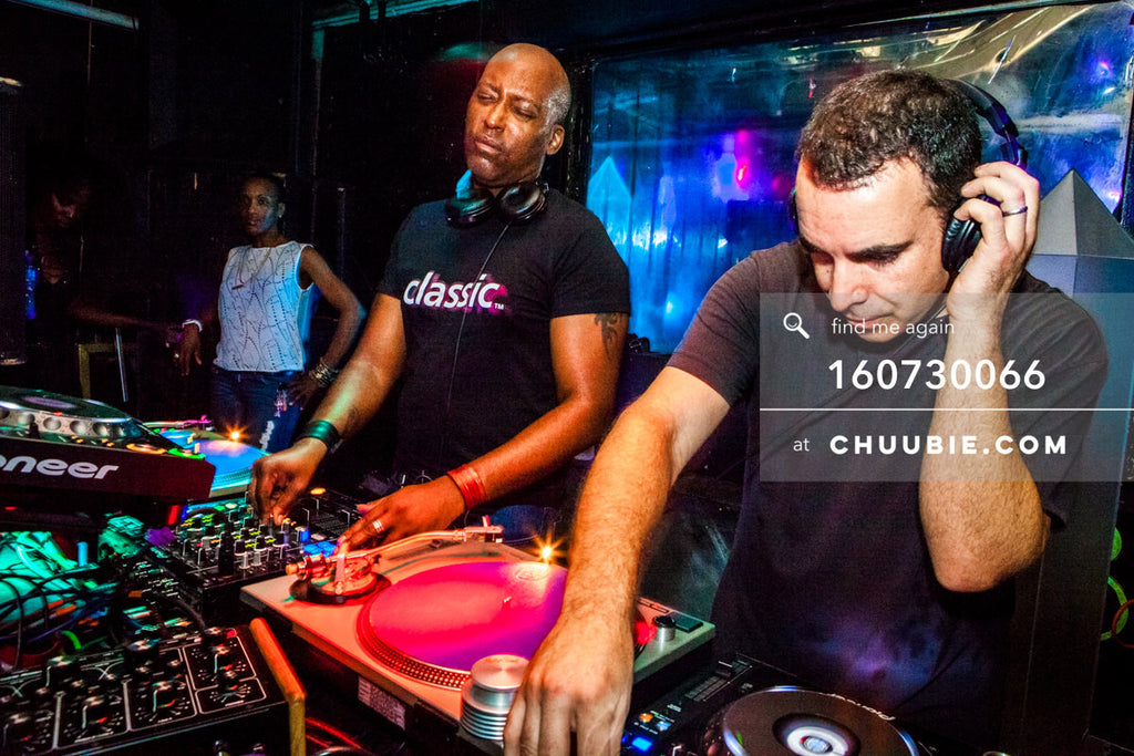 160730066 | Eyes-closed action shot of (chiapet) John Ciafone & Lem Springsteen (Mood ii Swing) DJing at ... | Team Chuubie