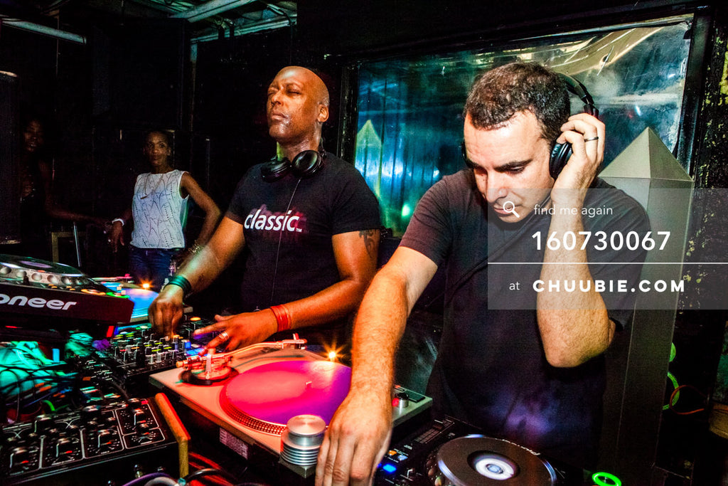 160730067 | Eyes-closed action shot of (chiapet) John Ciafone & Lem Springsteen (Mood ii Swing) DJing at ... | Team Chuubie