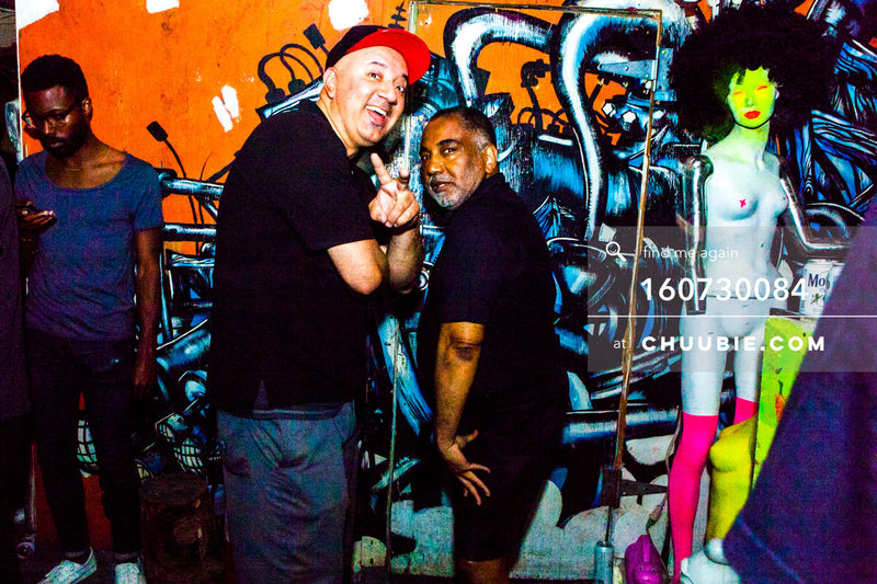160730084 | Two older gentlemen posing in front of graffiti wall. — Sublimate & Ruse Labs present: Mood i... | Team Chuubie