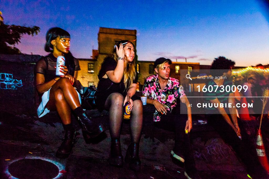 160730099 | Stylish clubgoers sit on Brooklyn rooftop at dawn. — Sublimate & Ruse Labs present: Mood ii S... | Team Chuubie