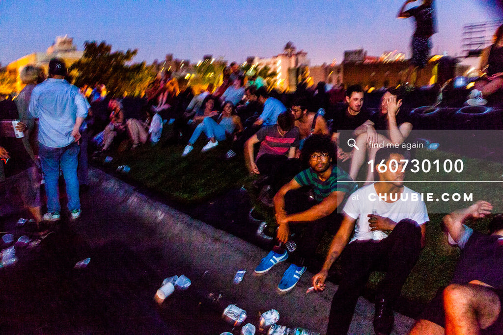 160730100 | Warehouse party goers sit on Brooklyn rooftop at dawn. — Sublimate & Ruse Labs present: Mood ... | Team Chuubie