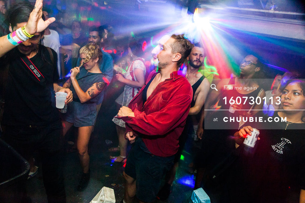 160730113 | Photographer Luis Nieto Dickens of No Sleep and dance floor crowd in shining disco ball rays of l... | Team Chuubie