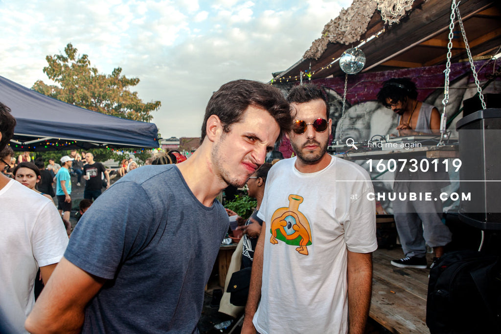 160730119 |  Scrunchy face guy and Suave sunny shade Matt Gattis, Turtle Bugg (Tajh Morris) DJing on Brooklyn... | Team Chuubie
