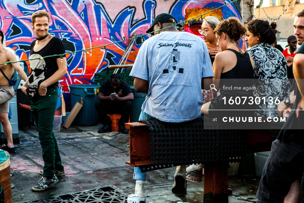 160730136 | Moments on a Brooklyn rooftop graffiti wall during daytime party. — Sublimate & Ruse Labs pre... | Team Chuubie