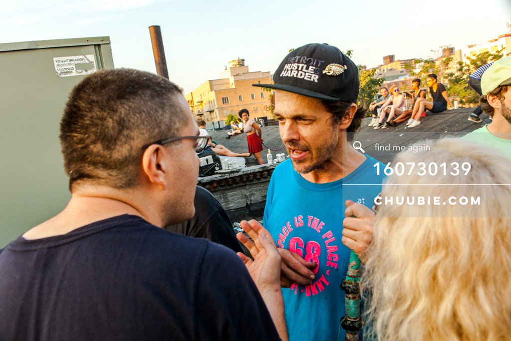 160730139 | Albert Freeman in conversation with Donny Burlin on Brooklyn summer rooftop. — Sublimate & Ru... | Team Chuubie